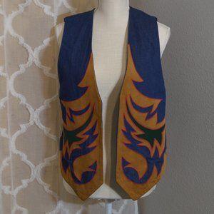 Vintage Denim and Suede Funky Design Vest